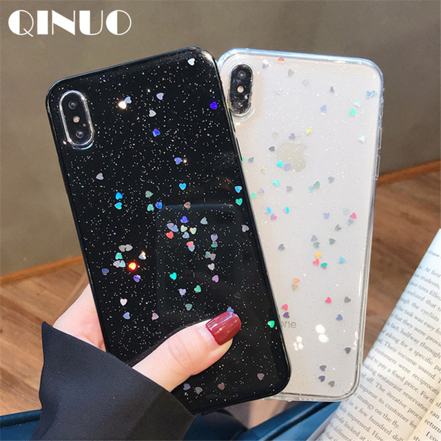 QINUO Cute Glitter Bling Case for iPhone 6 6s 7 8 Plus Glossy Epoxy Star Love Heart Clear Soft Case For iPhone X XS Max XR Cover
