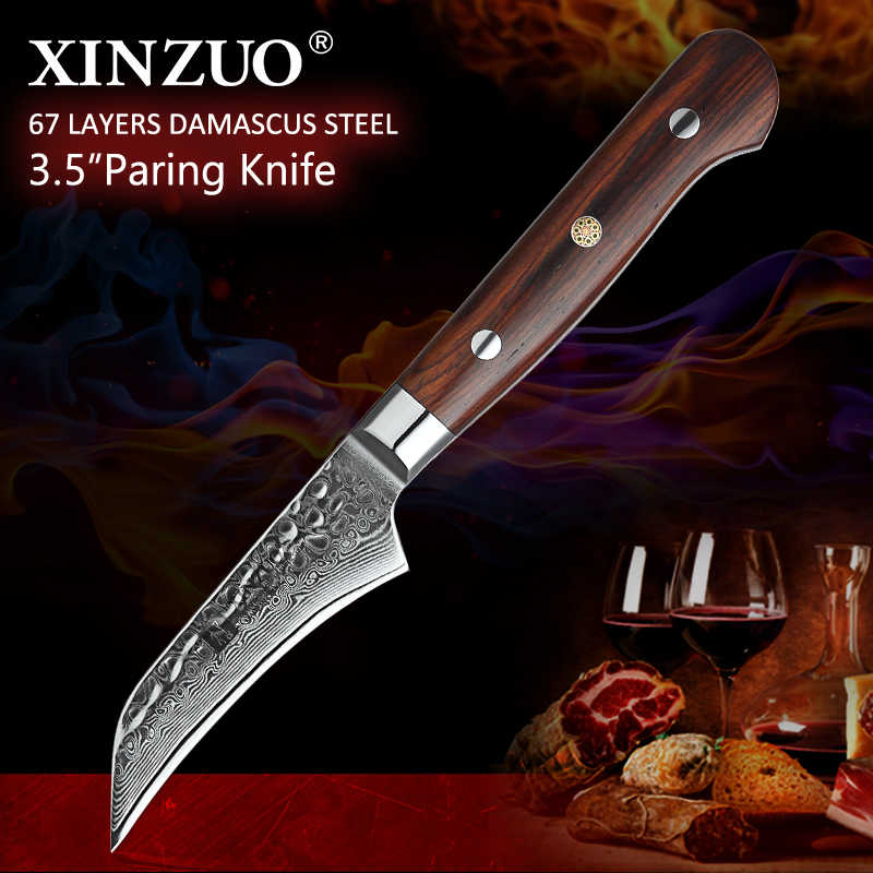 XINZUO 3.5'' inch Fruit Knife Stainless Steel Kitchen Accessories Vegetable Slicer Paring Knives Damascus Blade Rose Wood Handle