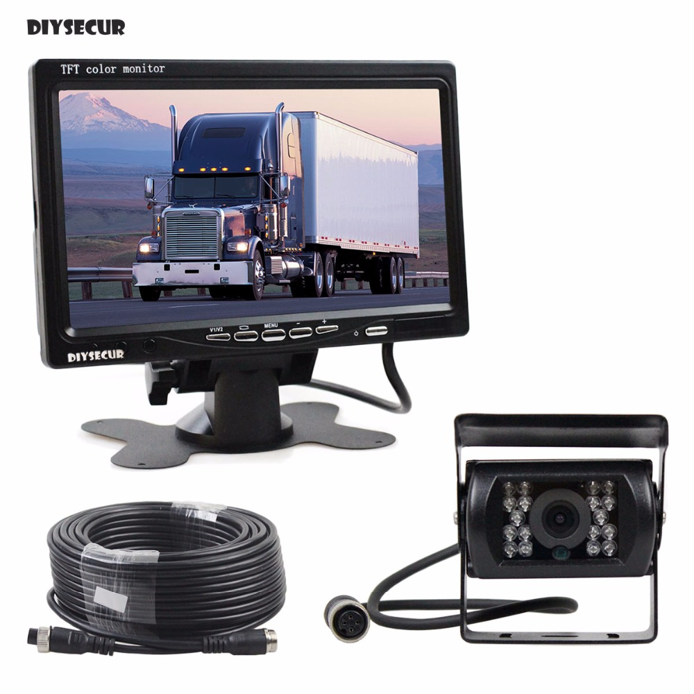 DIYSECUR DC 12V-24V 7 inch TFT LCD Car Monitor + 4pin IR Night Vision CCD Rear View Camera for Bus Houseboat Truck diykit ir night vision ccd rear view car camera white 7 inch hd tft lcd car monitor reverse rear view monitor screen