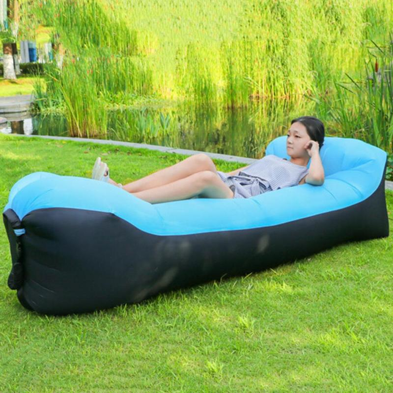 Foldable Lazy Sleeping Bag Sofa Shape 210D Oxford Fabric Inflatable Air Bed Portable Beach Lounge Camping Fast Sleeping Bed