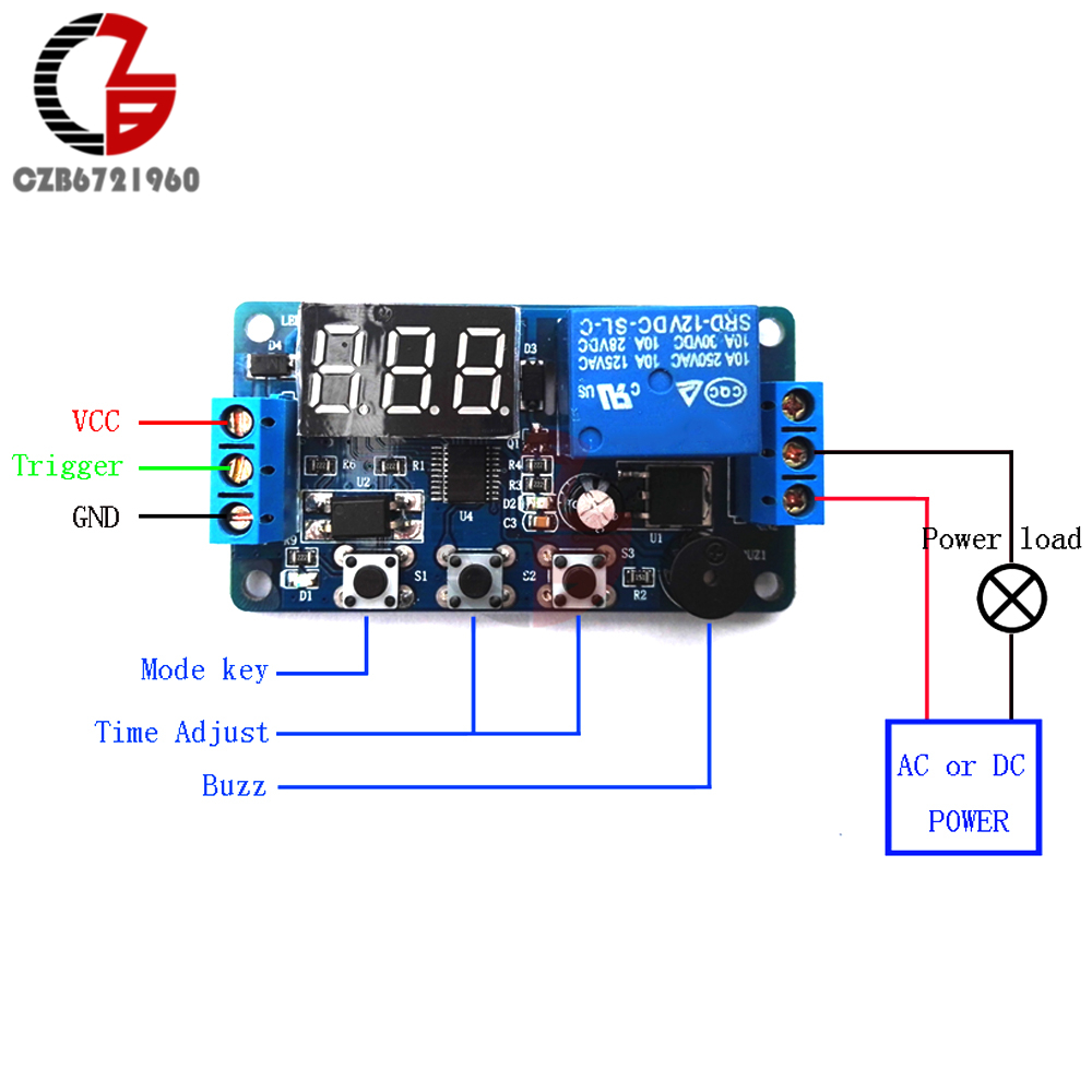 Digital Led Display Time Delay Relay Module Board Dc 12v Control Switch Circuit W Vehicle Electrical Timer Trigger Cycle Car Buzzer Plc Automation In Relays From Home Improvement