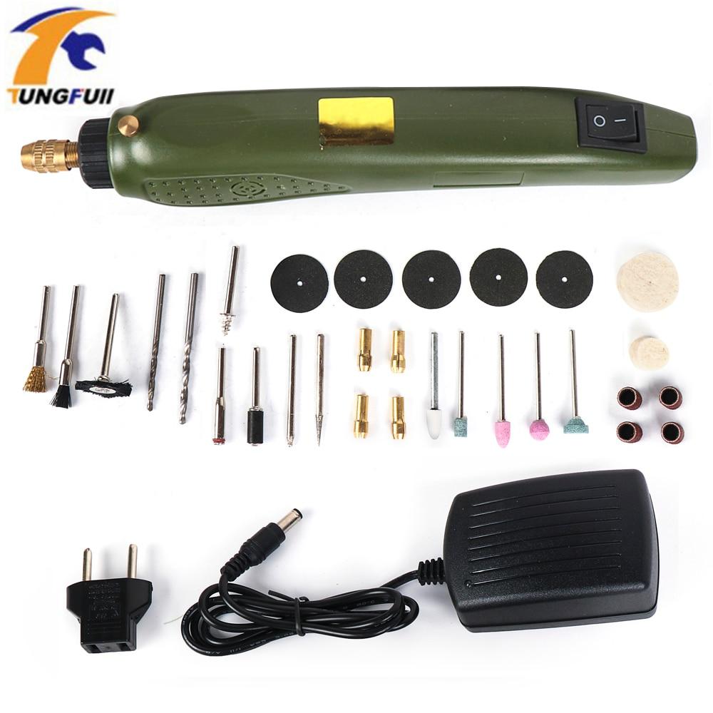Tungfull Mini Elettrico Mini Trapano Multifunzione Macchina Per Incidere Electric Tool Kit Per Dremel Kit Incisore Mini Trapano Con La Parte