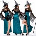 Синий ведьма хэллоуин костюмы для женщин изящный темно-Женщины Косплей Сексуальная Хэллоуин Взрослый Костюм Fancy Dress Club wear Party Wear