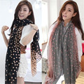 New Women Winter Warm Soft Long Voile Neck Large Scarf Spring Autumn Ladies Silk Wrap Shawl Stole Pink Grey Dots Scarve Pashmina