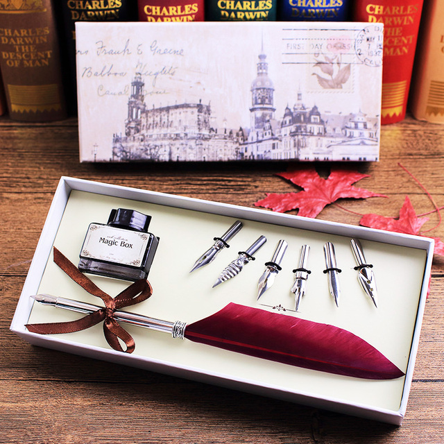 Antique Quill Feather Dip Pen Writing Ink Set Stationery Gift Box With 6 Nib Wedding