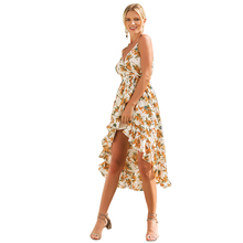 Spring and Summer 2019 Hot Selling New Suspended Printed Holiday Dresses-V-neck Dresses