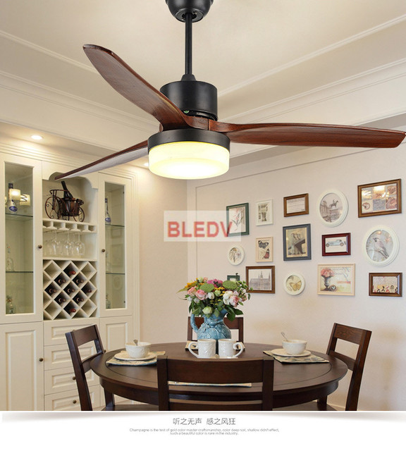 New LED Ceiling Fan For Living Room 220V Wooden Fans With Lights 52 Inch Blades