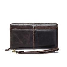 Mens Single Zipper Genuine Leather Long Wallet Man Purse Card Coin Cocket  Business Cow Designer Hand