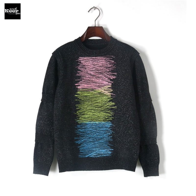 2018 Autumn New Fashion Sweater Female Pullovers Bright Silk Thick Winter Knitted Sweaters Pullover Runway Designer Tops Jumper