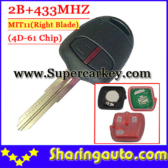 Free shipping (1piece) 2 Button Remote Key MIT11 uncut blade with 4d-61 chip 433MHZ For Mitsubishi free shipping 2 button remote key hu87 blade with id46 chip 433mhz for suzuki swift yy 1piece