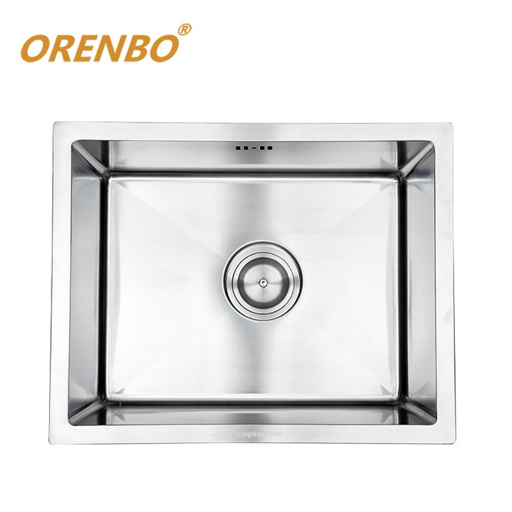 ORENBO SUS304 évier de cuisine 50*40*22 CM mélangeur de robinet de cuisine en acier inoxydable évier à bol unique avec égouttoir formateur et tuyau de vidange