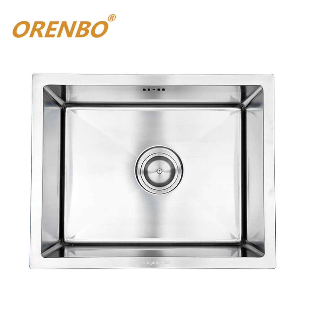 ORENBO SUS304 Kitchen Sink 50*40*22CM Kitchen Faucet Mixer Stainless Steel Single Bowl Sink With  Trainer Drainer And Drain Pipe swanstone dual mount composite 33x22x10 1 hole single bowl kitchen sink in tahiti ivory tahiti ivory