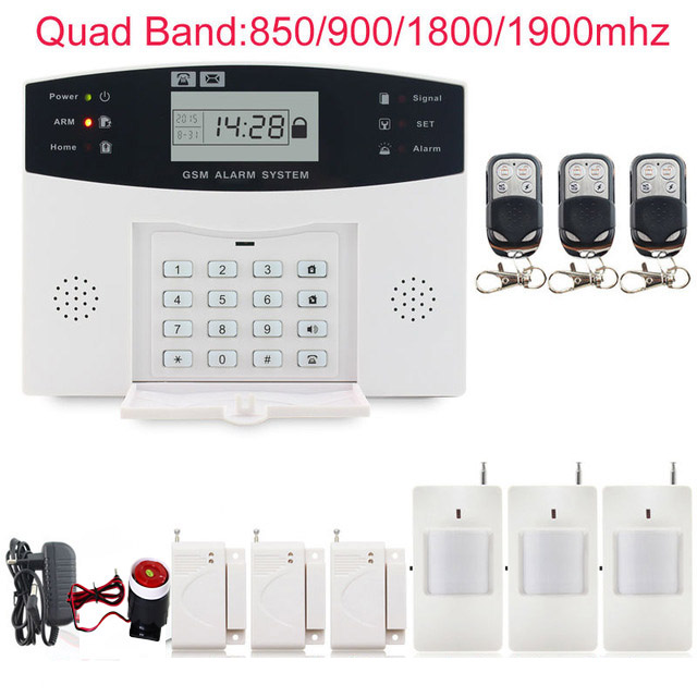 Wireless GSM Alarm System SMS Kit Burglar Security LCD Keyboard Wireless Gsm alarm system LCD Auto Dialer 433 MHz pir detector цена 2017