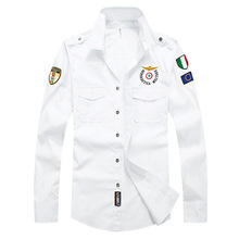 Плюс Размер М-3XL Высокое качество мужские военная форма стиль мужчины Повседневная рубашка с длинными рукавами досуг рубашка с длинными рукавами армия зеленый