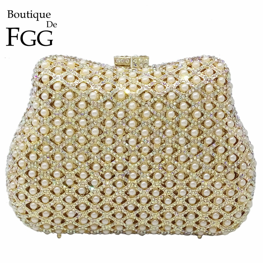 Elegant Hollow Out Women Beaded Crystal Gold Evening Metal Clutches Handbags Bridal Purse Hard Case Wedding Chain Shoulder Bag gold plating floral flower hollow out dazzling crystal women bag luxury brand clutches diamonds wedding evening clutch purse