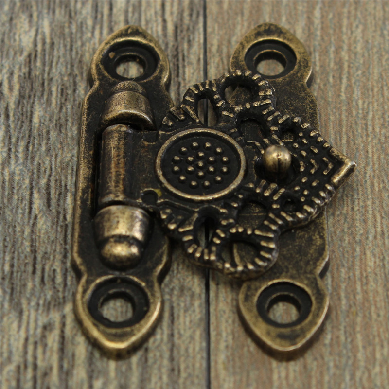 12X Antique Antique And Vintage Style Decorate Brass Decorative Jewelry Gift Wooden Box Hasp Latch Hook With Screws