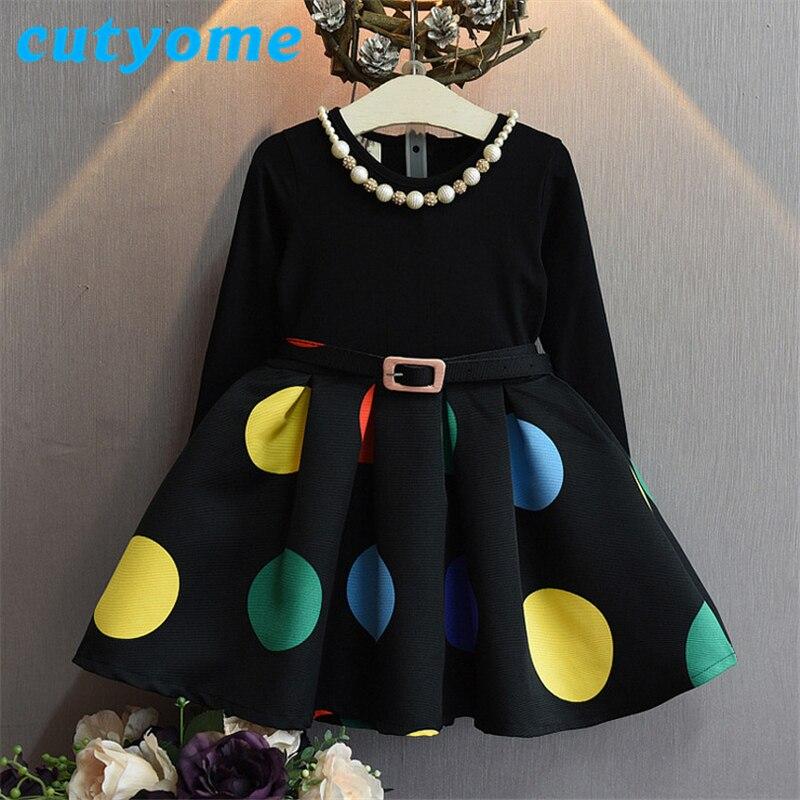 European Fashion Girls Winter Dress Long Sleeve Kids Black Polka Dot Dresses with Necklace Next* Designers Children Maxi Clothes designers children s