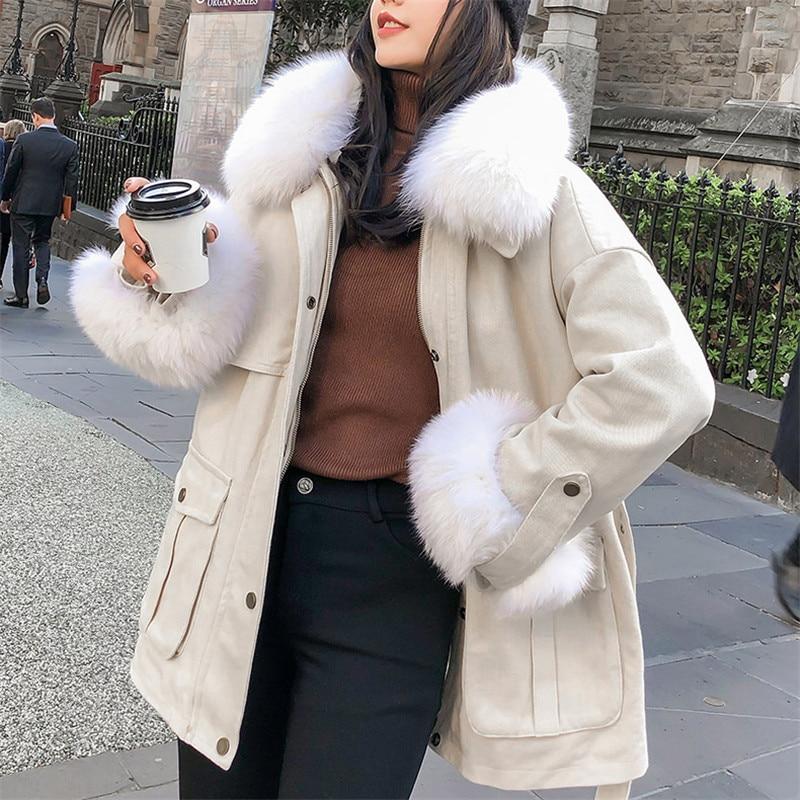 Lâche De Femme Grand White Parka Outillage Manteau Nouveau Yy083 Coton Hiver Fourrure 2018 Femmes Épais Col Survêtement AqUzxxnt4