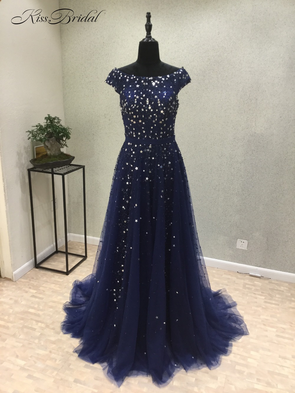 Vestidos de festa New Style Long   Prom     Dresses   Scoop Cap Sleeve Sweep Train Beading Tulle A-Line Evening   Dresses   abiye