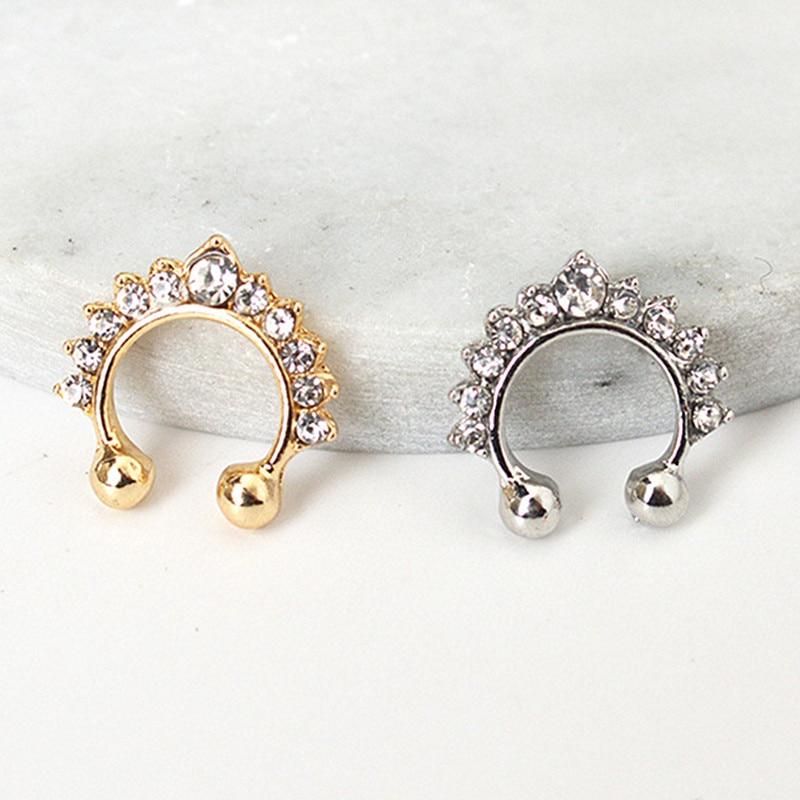 New Fashion European American Pendientes Simple Non-pierced Ear Cuff Crystal Clip Earrings for Women Jewelry Gift Brincos