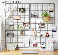 AMTUOFO Household Iron Wall Hanging Grid Net Storage Shelf Photo Pictures Frame Wall Decoration Stand Kitchen Storage Rack