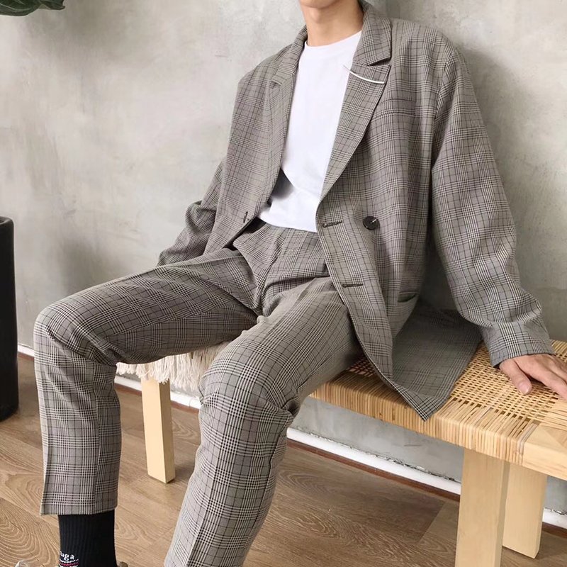 2019 spring and summer new Korean version of the Japanese business plaid casual men's suit jacket Harajuku S-L size