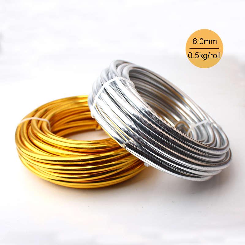 Großhandel 0,5 kg 6 mt/rolle Eloxiert Künstlerische Aluminium Handwerk Draht 6,0mm 2 Gauge Silber Gold Farbige Schmuck weiche Metalldraht