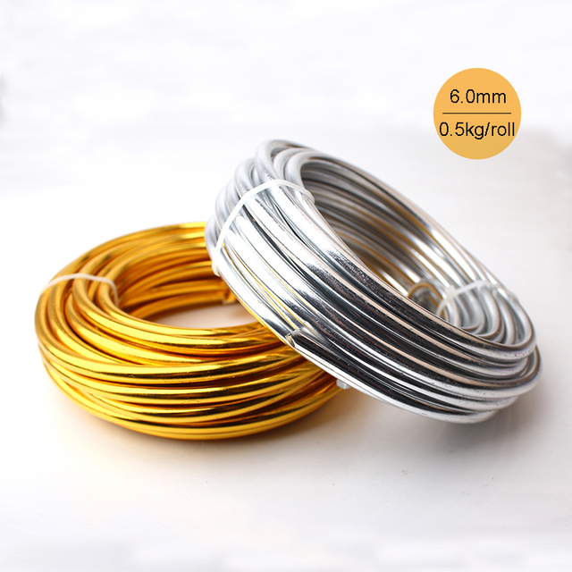 Wholesale 0.5kg 6m/roll Anodized Artistic Aluminum Craft Wire 6.0mm 2 Gauge Silver Gold Colored Jewelry Soft Metal Wire