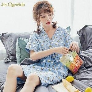 Image 4 - Нижнее белье, одежда для сна, Женская хлопковая ночная рубашка небесно голубого цвета с принтом милого котенка, с бантом на поясе, в японском стиле, кавайная одежда для сна для студентов