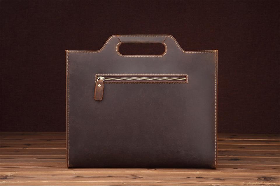 New Genuine Leather Men's Handbags Retro Crazy Horse Leather Men Tote Bag Shoulder Messenger Business Men Briefcase Laptop Bags