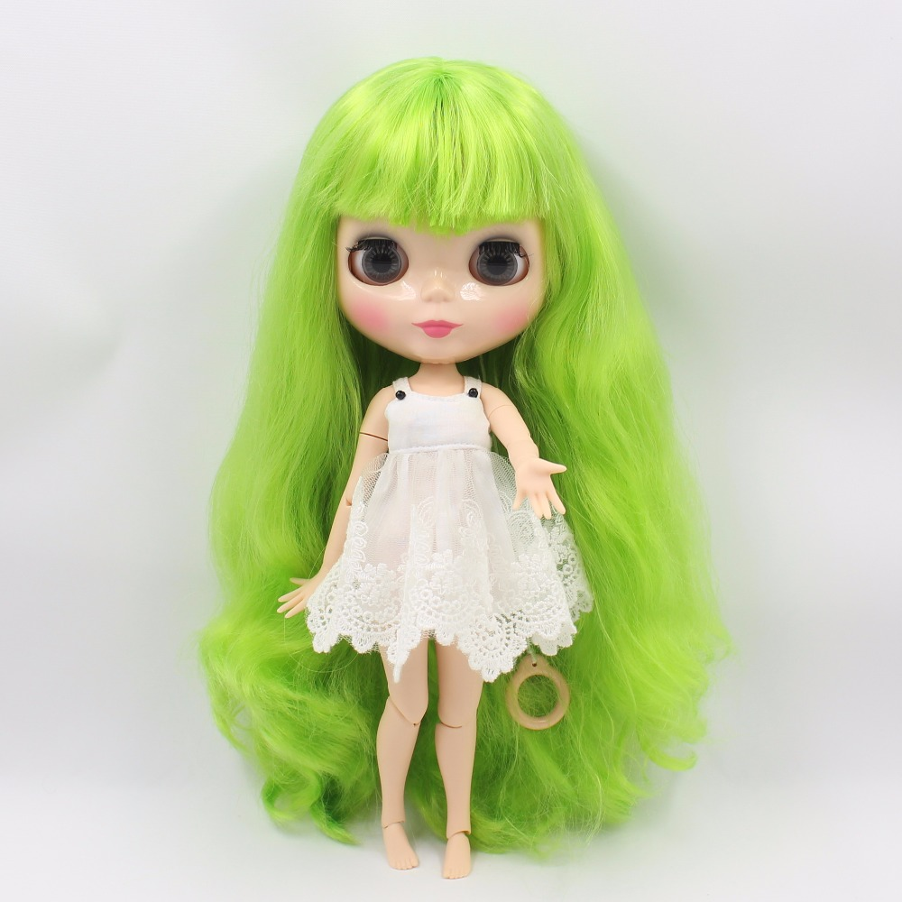 Neo Blythe Doll with Green Hair, Natural Skin, Shiny Face & Jointed Body 2
