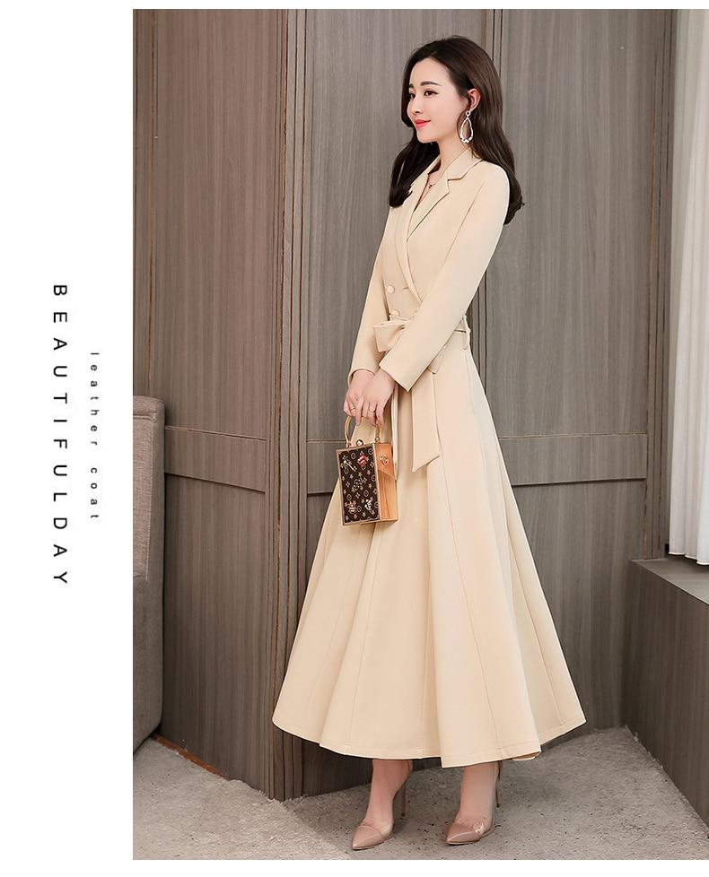 Spring and Autumn 2019 New Women's Dresses Korean Edition Long Sleeve Dresses Overlap Long Popular Temperament with Bottom 141