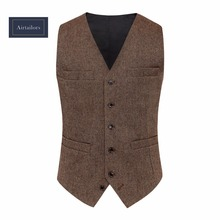 Фотография 2018 Rustic Wedding Tweed Vest Men Vintage Summer Winter Slim Fit Groom