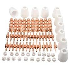 100 조각 에어 플라즈마 커터 토치 소모품 커팅 용접기 키트 용 전극 노즐 팁 쉴드 컵 세트