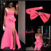 2019 South African Mermaid Evening Dresses Long Elastic Satin Front Slit Bow One Shoulder Prom Gown Evening Dress Custom Made