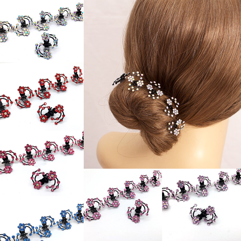 LNRRABC  6 Pcs/Set Rhinestones Flower Hair Clips Clamp Women Lady Hair Claws Bridal Jewelry Hair Accessories Barrettes Hairpin halloween party zombie skull skeleton hand bone claw hairpin punk hair clip for women girl hair accessories headwear 1 pcs