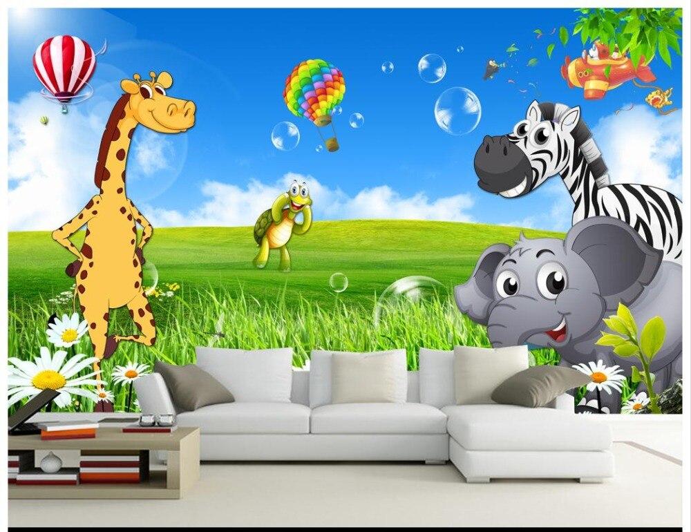 US $9.96 62% OFF|Custom 3d tapete für wände 3 d wand wandmalereien Schöne  landschaft wand kinderzimmer cartoon tapete tier wandmalereien hause ...