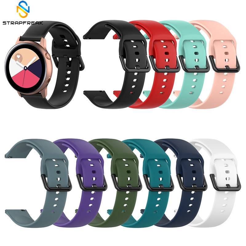 20mm Silicone Watchband For Samsung Galaxy Watch Active Strap For Samsung Gear S2 Sport Classic Bracelet Black Buckle Watch Belt