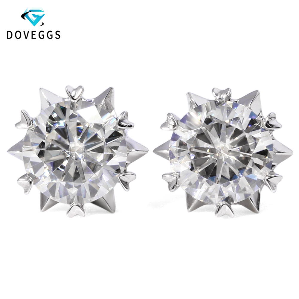 DovEggs 14K White Gold 2ctw 6.5mm F Colorless Lab Created Moissanite Diamond Stud Earrings For Women Gold Earrings Screw Back starry pattern gold plated alloy rhinestone stud earrings for women pink pair