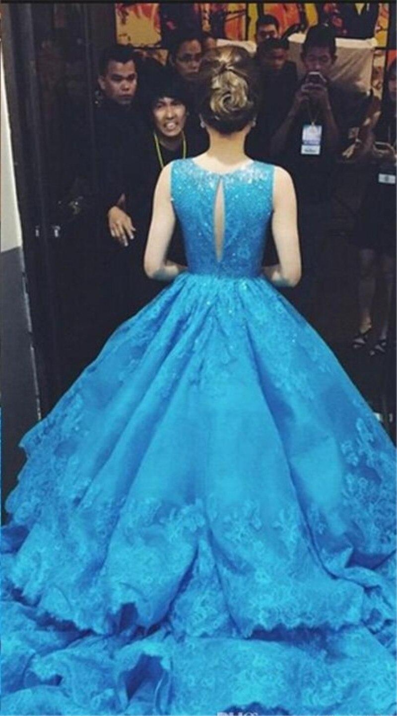 Royal Blue Wedding Dresses 2015 Ball Gown Crew Vintage Lace Saudi ...