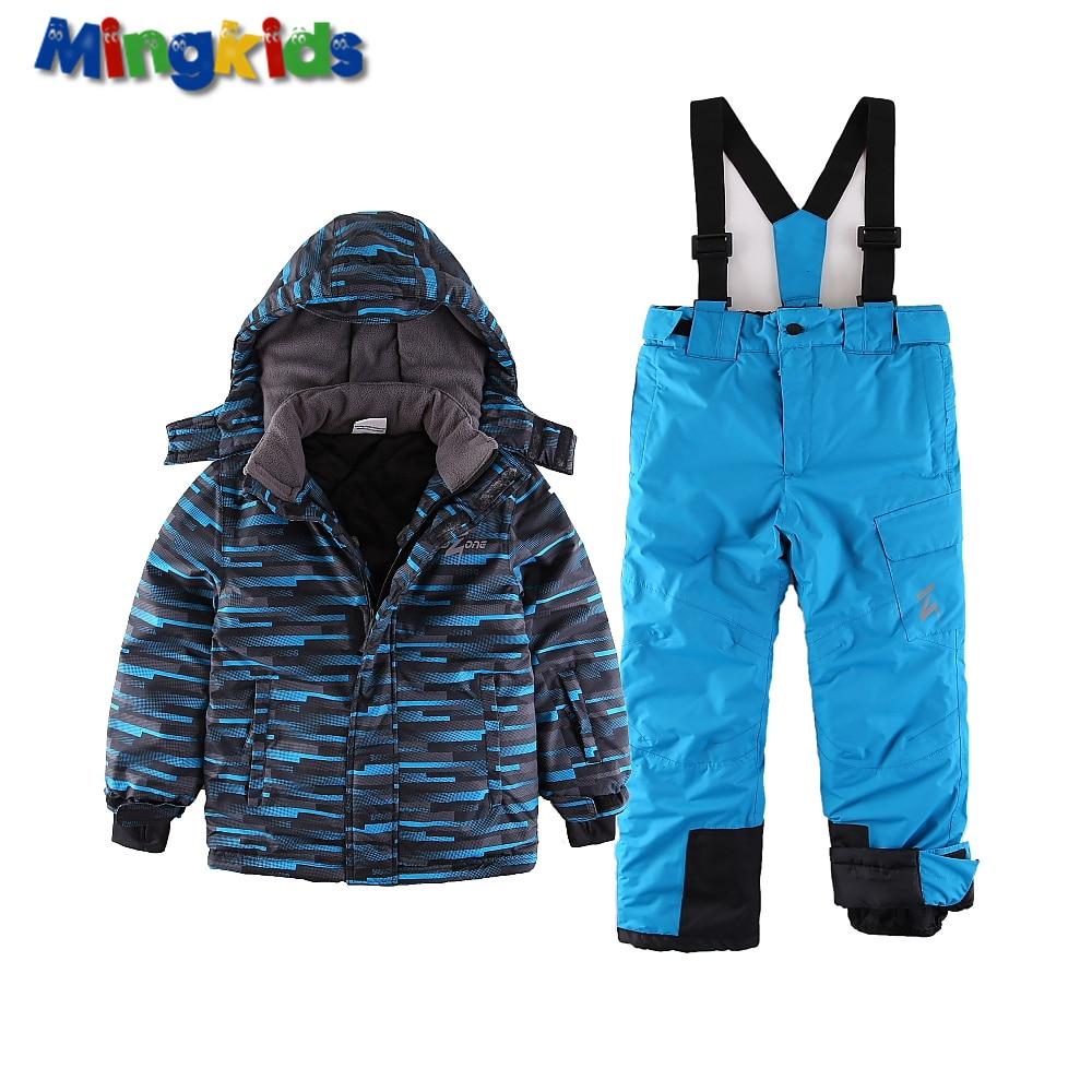 Mingkids toddler Boy Snowsuit Outdoor Ski set Winter Warm Snow Suit waterproof windproof padded jacket with pants European Size