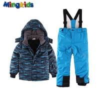 Mingkids Toddler Boy Snowsuit Outdoor Ski Set Winter Warm Snow Suit Waterproof Windproof Padded Jacket With