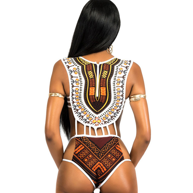 African Printed Swimwear One Piece Swimsuit/Women High Cut Trikini Thong Plus Size Bathing Suit