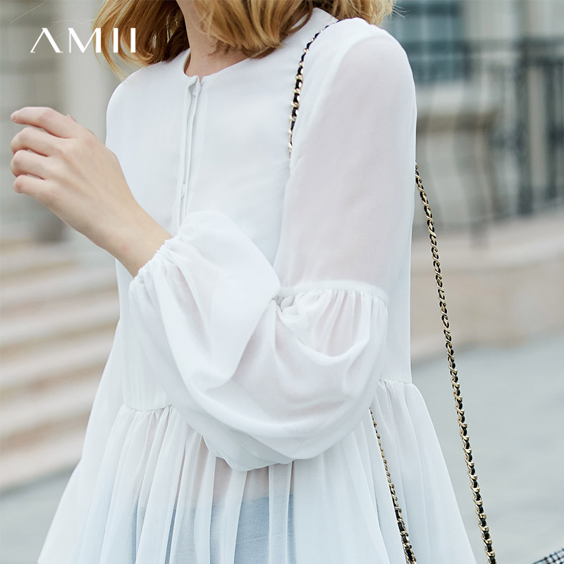 Amii Minimalist Women 2019 Spring   Blouse   Solid Lantern Sleeve Chiffon Female   Blouses     Shirts
