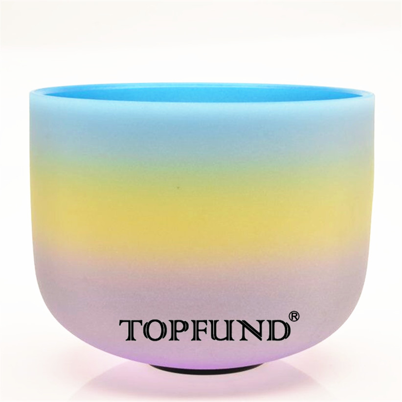 TOPFUND Rainbow Color G Note Throat Chakra Frosted Quartz Crystal Singing Bowl 12 -With Free Mallet and O-Ring 10 and 12 2pcs chakra white frosted quartz crystal singing bowl 432hz