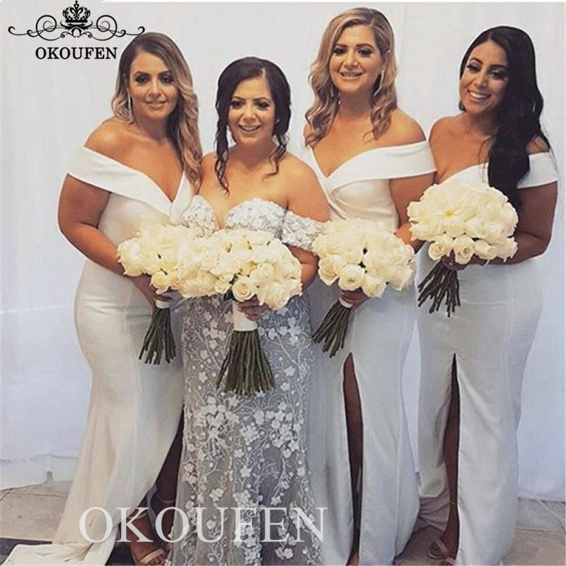 Sexy Side Split White   Bridesmaid     Dresses   Off Shoulder 2019 Long White Stain Wholesale Price Party   Dress   Maid Of Honor For Women