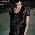 Men's Fashion Sticked Jewel Cross Sexy See-through Reticular Casual Black Cotton T-shirt Night Club Costume Stage Tee Tops