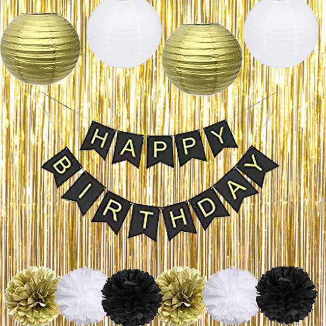 Placeholder Black Gold Party Decorations With Happy Banner Lantern Flower For 18th 20th 21st 30th 40th 50th