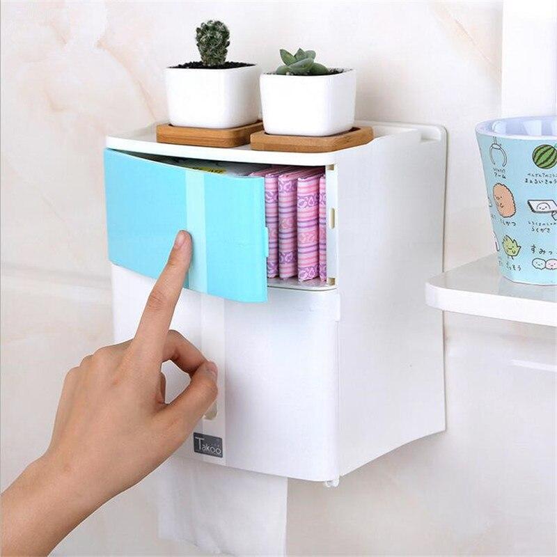 Doble capa de baño caja de almacenamiento de papel higiénico sanitarias servilleta soporte de almacenamiento estantes montados en la pared para Gel de ducha de las mujeres