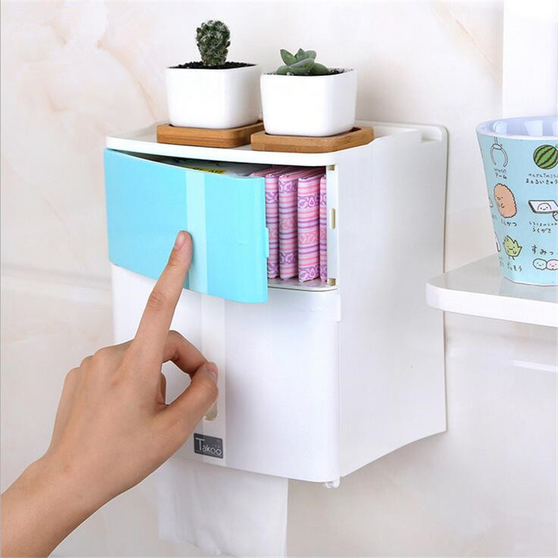 Double Layer Bathroom Storage Box Toilet Paper Sanitary Napkin Storage Holder Wall Mounted